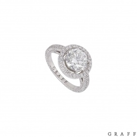 Graff White Gold Diamond Halo Ring 2.00ct F/VS1 XXX